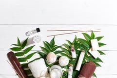 Naturalni zdroju i aromatherapy skincare piękna produkty z łazienek akcesoriami wliczając exfoliating pętaczek, oleje Zdjęcia Royalty Free