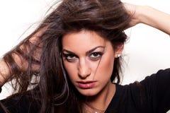 Naturalny… Z długie włosy młoda ufna kobieta Zdjęcia Royalty Free
