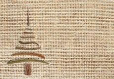 Naturalny burlap tło z choinki i kopii przestrzenią Fotografia Royalty Free