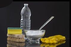 Naturalny cleaning wytłacza wzory cytryny i sodium dwuwęglan zdjęcia royalty free