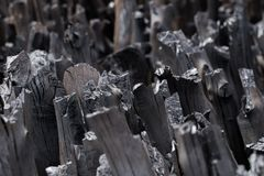 Naturalny drewniany węgiel drzewny, tradycyjny węgiel drzewny lub ciężki drewniany charcoa, Obraz Royalty Free