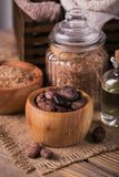 Naturalny kosmetyka olej, morze sól i naturalny handmade mydło z co, Zdjęcie Stock