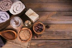 Naturalny kosmetyka olej, morze sól i naturalny handmade mydło z co, Obrazy Stock