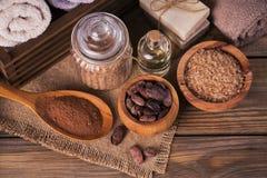 Naturalny kosmetyka olej, morze sól i naturalny handmade mydło z co, Zdjęcie Royalty Free