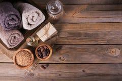 Naturalny kosmetyka olej, morze sól i naturalny handmade mydło z co, Fotografia Royalty Free