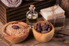 Naturalny kosmetyka olej, morze sól i naturalny handmade mydło z co, Obraz Stock