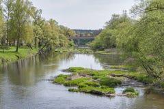 Naturalny krajobraz z rzeką Obraz Stock