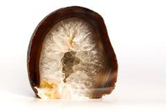 Naturalny Kwarcowy Crytal agat Odizolowywający na bielu Fotografia Stock