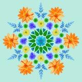 Naturalny mandala od wysuszonych naciskających kwiatów, płatków i liści, Obrazy Stock