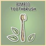 Naturalny materialny bambusowy tothbrush Ekologiczny i odpady produkt Zielony dom i bezp?atny utrzymanie royalty ilustracja