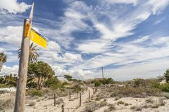 Naturalny ochraniający teren Els Muntanyans w Torredembarra, Costa Dor fotografia royalty free