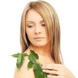 Naturalny piękno - młoda żeńska twarz Zdjęcia Royalty Free