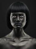 Naturalny portret ciemnoskóra piękna dziewczyna Czarny piękno Zdjęcie Stock