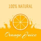 Naturalny sok pomarańczowy etykietki szablon Zdjęcia Royalty Free