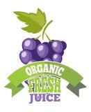Naturalny winogrono soku logo, etykietka Zdjęcie Stock