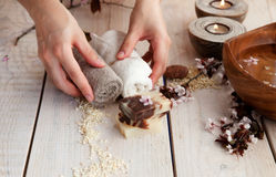 Naturalny zdroju manicure'u położenie Fotografia Stock