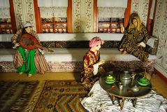 Naturalnych rozmiarów diorama przedstawia rytuały i customs otoman Antalya Zdjęcia Royalty Free