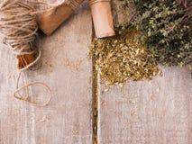 Naturalnych zdrowie zielarski tło z bezpłatną przestrzenią Obraz Stock