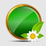 100% naturalnych zielonych etykietek odizolowywających na white.vector Zdjęcia Royalty Free