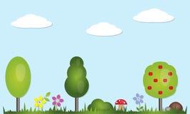 Naturbeståndsdeluppsättning Plana symboler för skog och för trädgård av landskapet: träd granen, buskar, gräs, stenar, blommor, c Royaltyfria Bilder