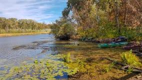 Nature湖与小船的秋天反射 风景树浇灌河背景 免版税图库摄影