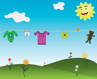 Nature. The clothes to dry on the nature Royalty Free Stock Photography