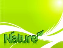 Nature. Word in 3d with grass inside and isolated over a light green  background Stock Photos