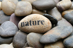 Nature. Stone with the inscription Nature Stock Images