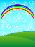 Nature. Illustration of no background and a rainbow bubble Royalty Free Stock Images