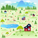 Nature. Illustration nature landscape of the small village Stock Images