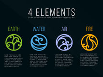 Free Nature 4 Classical Elements Circle Curve Line Border Abstract Icon Sign. Water, Fire, Earth, Air. Vector Design Stock Photo - 98794570