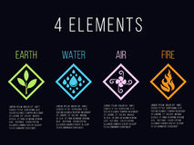 Free Nature 4 Elements In Diamond Line Border Abstract Gradient Icon Sign. Water, Fire, Earth, Air. On Dark Background. Stock Photos - 94861763