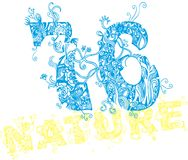 Nature 76. Consisting of natural floral patterns and the number of graphic T-shirt stock illustration