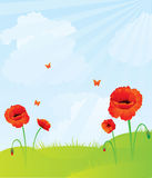 Nature. Blue sky with poppy, vector illustration Stock Images
