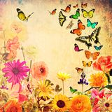 Nature abstract background. Colorful beautiful flowers and butterflies. Spring nature abstract background stock illustration