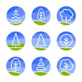 Nature abstract logo. Isolated white color trees on blue sky background and green field in lineart style set, forest. Park and garden flat circle signs Royalty Free Stock Photos