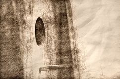 Nature Abstract: Sketch of a Close Look at a Wooden Birdhouse stock illustration