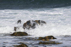 Nature at in action. Waves cascading over rocks during high tide in mew England Royalty Free Stock Image