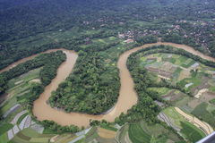 Progo River from Aerial View Stock Photo
