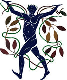 Nature allegory. An allegory of Nature: a man dancing among foliage with supporting arms. Classic style Royalty Free Stock Image
