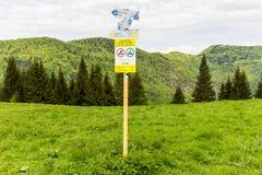 Nature along the cycling way from Malino Brdo to Revuce in Slova. Cycling sign on Malino Brdo, Slovakia 2015 Stock Image