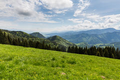 Nature along the cycling way from Malino Brdo to Revuce in Slova. View of nature Landscape along the cycling way from Malino Brdo to Revuce, Slovakia 2015 Royalty Free Stock Image