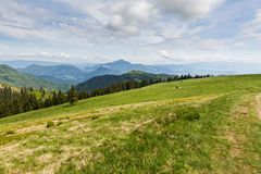 Nature along the cycling way from Malino Brdo to Revuce in Slova. View to the Mountain Cebrat from Mountain Malino in Slovakia in summer 2015 Royalty Free Stock Photo