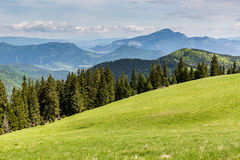 Nature along the cycling way from Malino Brdo to Revuce in Slova. View to the Mountain Cebrat from Mountain Malino in Slovakia in summer 2015 Stock Photos