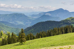 Nature along the cycling way from Malino Brdo to Revuce in Slova. View to the Mountain Cebrat from Mountain Malino in Slovakia in summer 2015 Royalty Free Stock Image