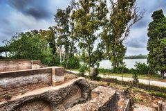 Nature and archaeological excavations of the Port of Trajan. Rome - Italy Royalty Free Stock Images