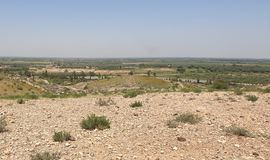 Nature of areas. The nature of the areas is semi-desert, with small oases, plateaus, foothills and waterways royalty free stock photo