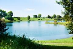 Panorama on little lake close to Milan stock photo