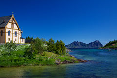 Nature around Lofoten cathedral Royalty Free Stock Images