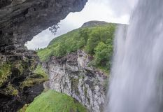 Waterfall view in Norway summer trip. Nature attractions in europe - waterfall and landscape Royalty Free Stock Images